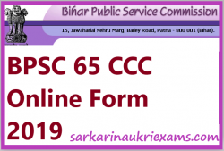 65 BPSC Notification 2019 CCE (Prelims) Exam (VDO, SI) Vacancy Online Form