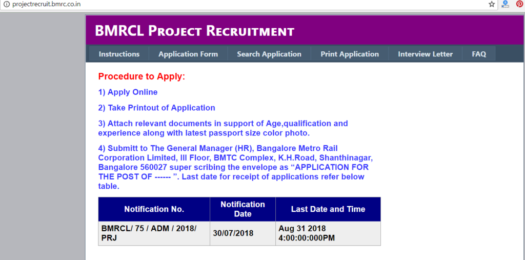 BMRCL Apply Online