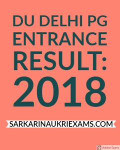 DU Delhi PG Entrance Result: 2018 Download